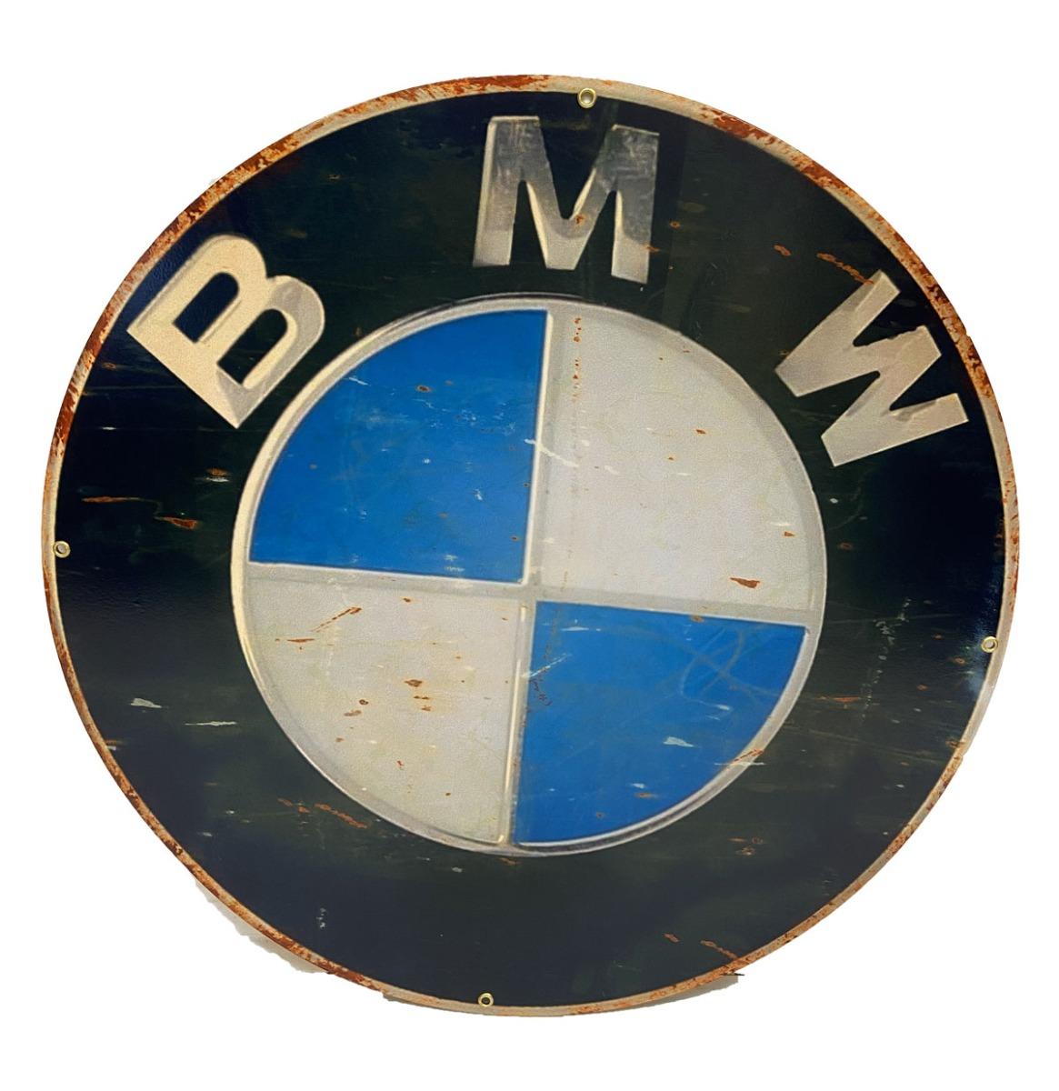 BMW Logo Vintage look - Metalen Bord 35 x 35 cm
