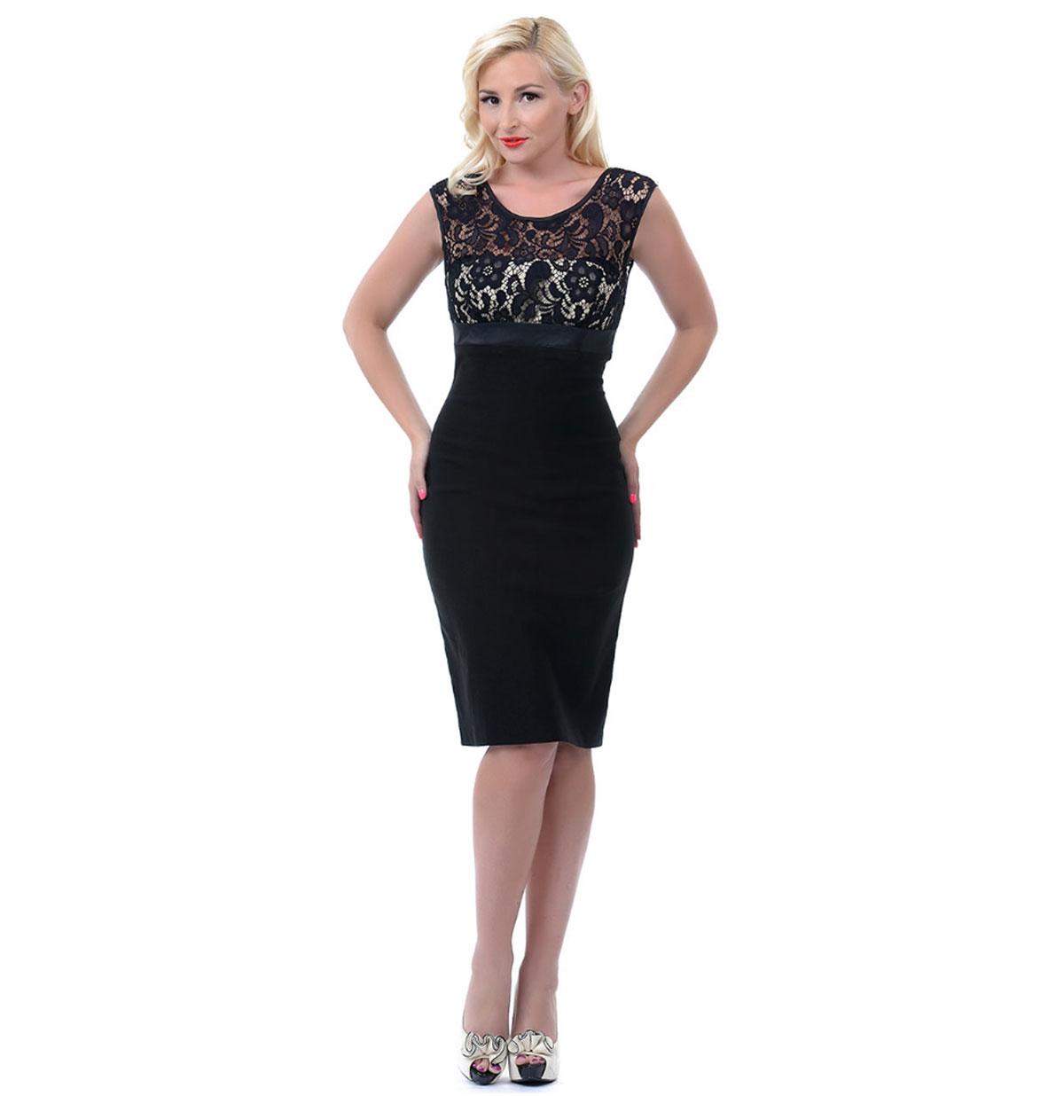 Lana Dress, Black and Nude