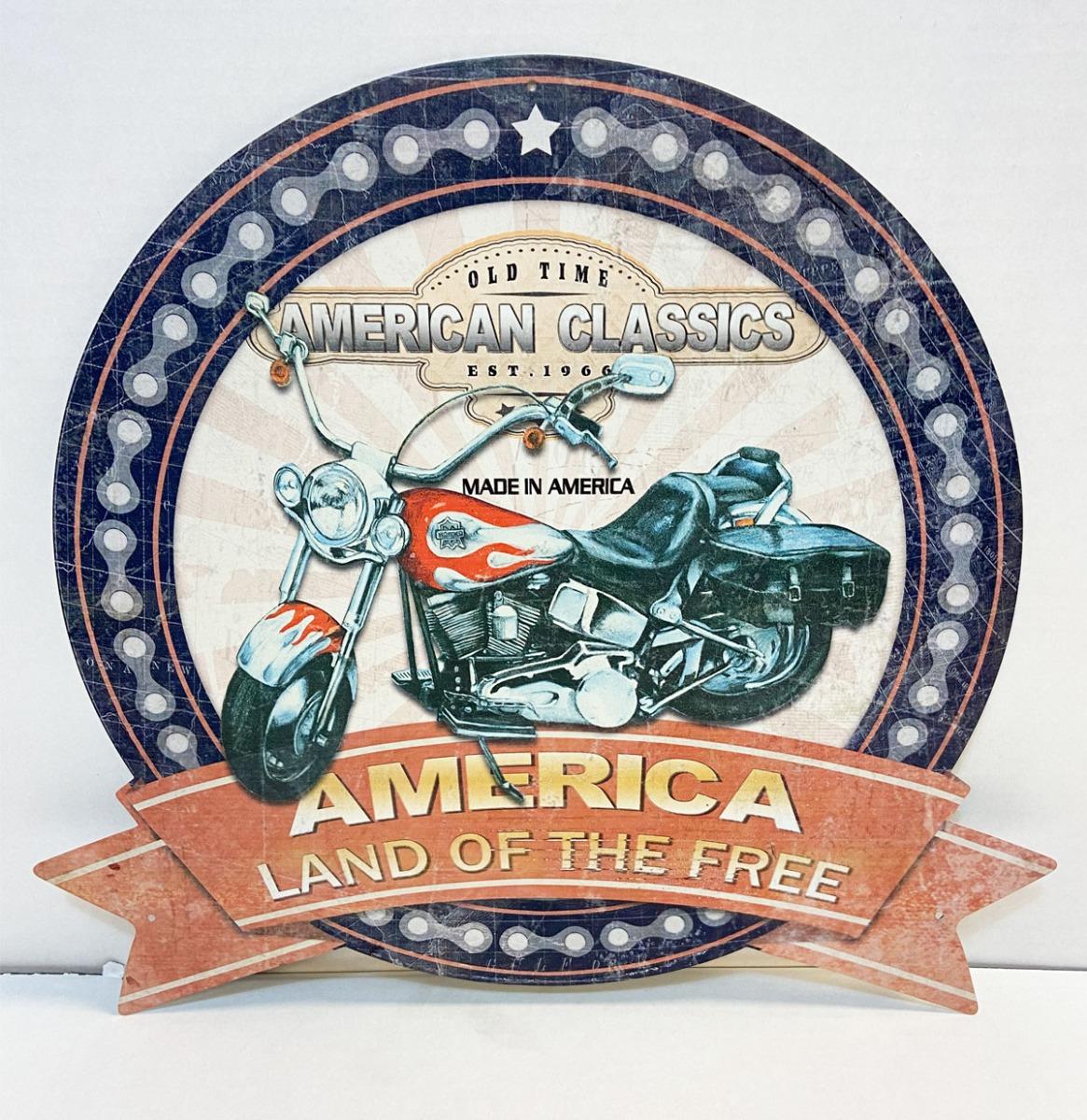 America Land Of The Free Motor Metaal Bord 39 x 36 cm