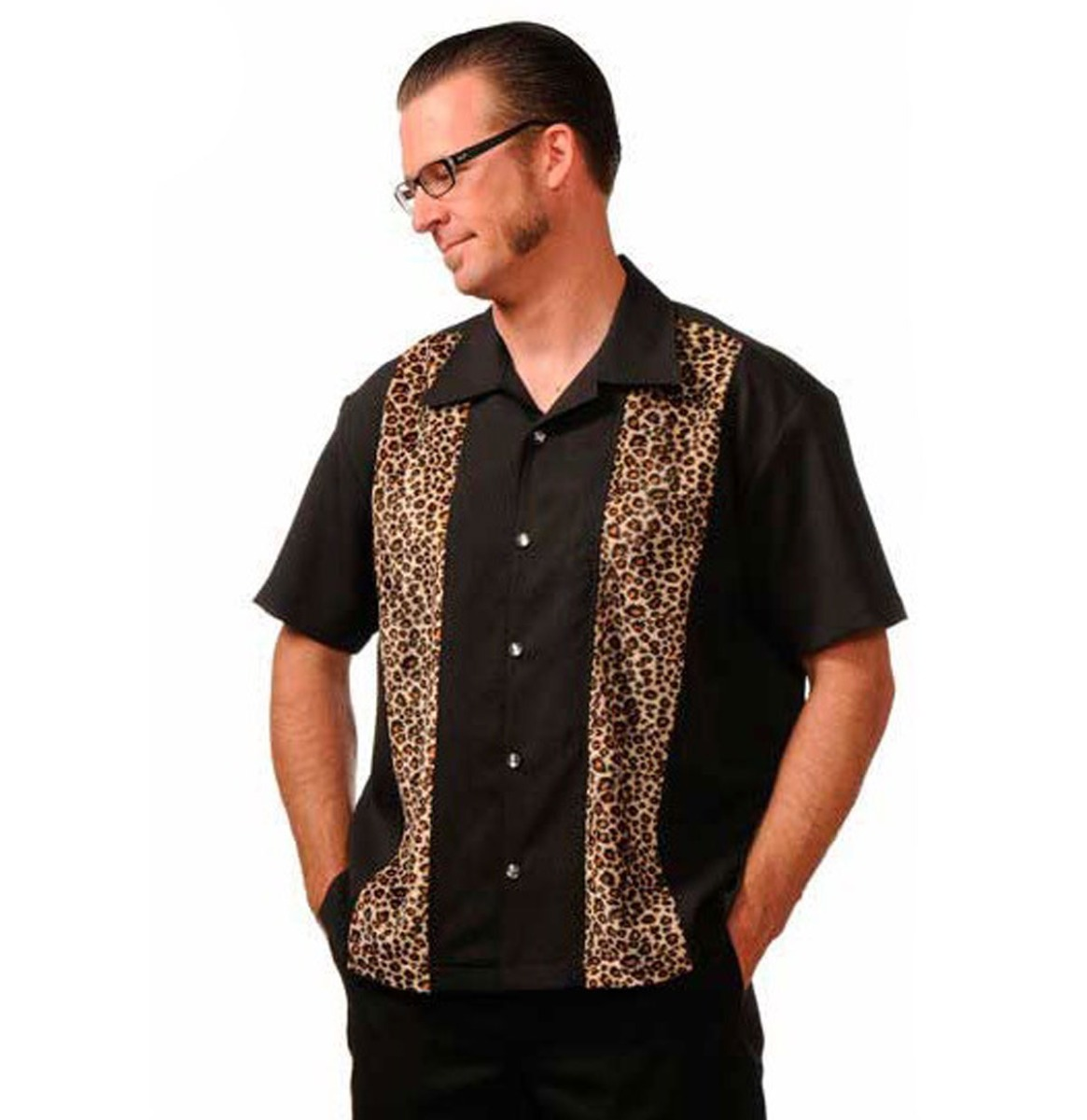 Leopard Panel Shirt Black
