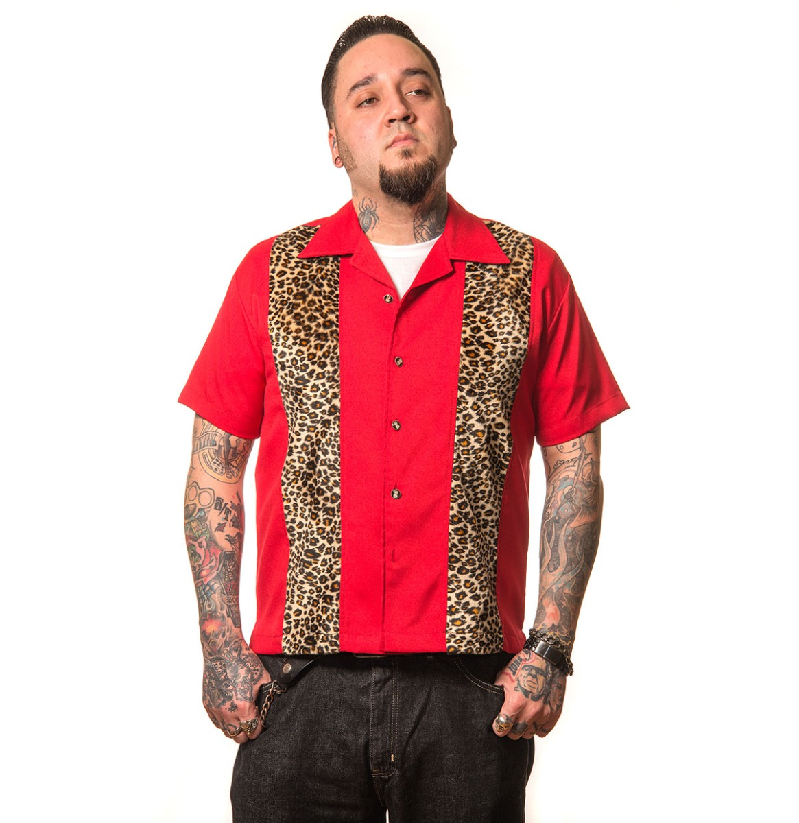 Leopard Panel Shirt Red