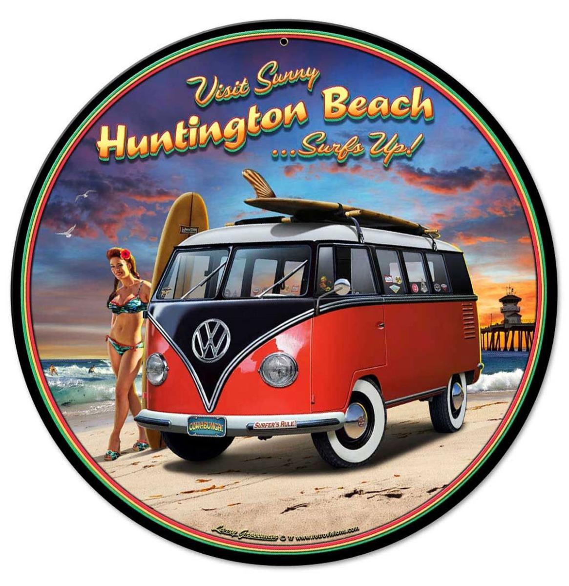 Volkswagen VW Huntington Beach Surfs Up Metalen Bord 36 cm