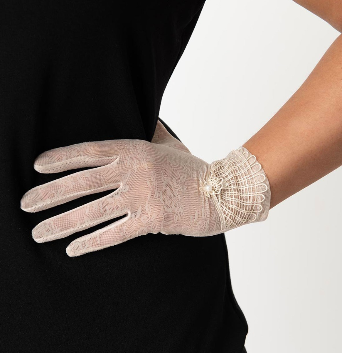 Light Pink Deco Floral Mesh Wrist Gloves