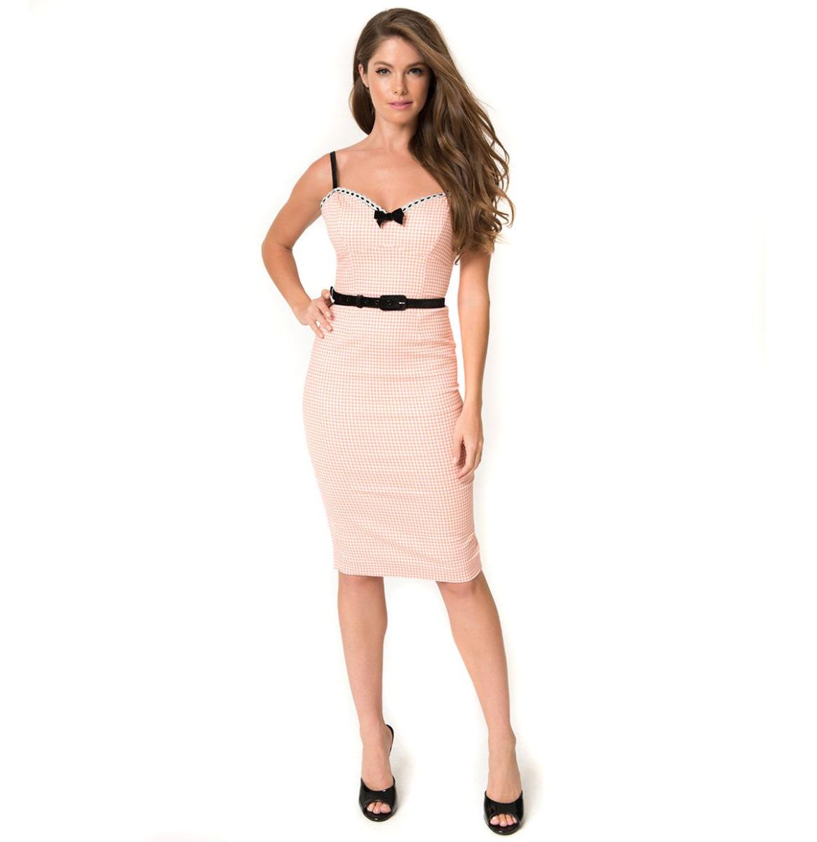 Lilli Pencil Dress Roze Gingham