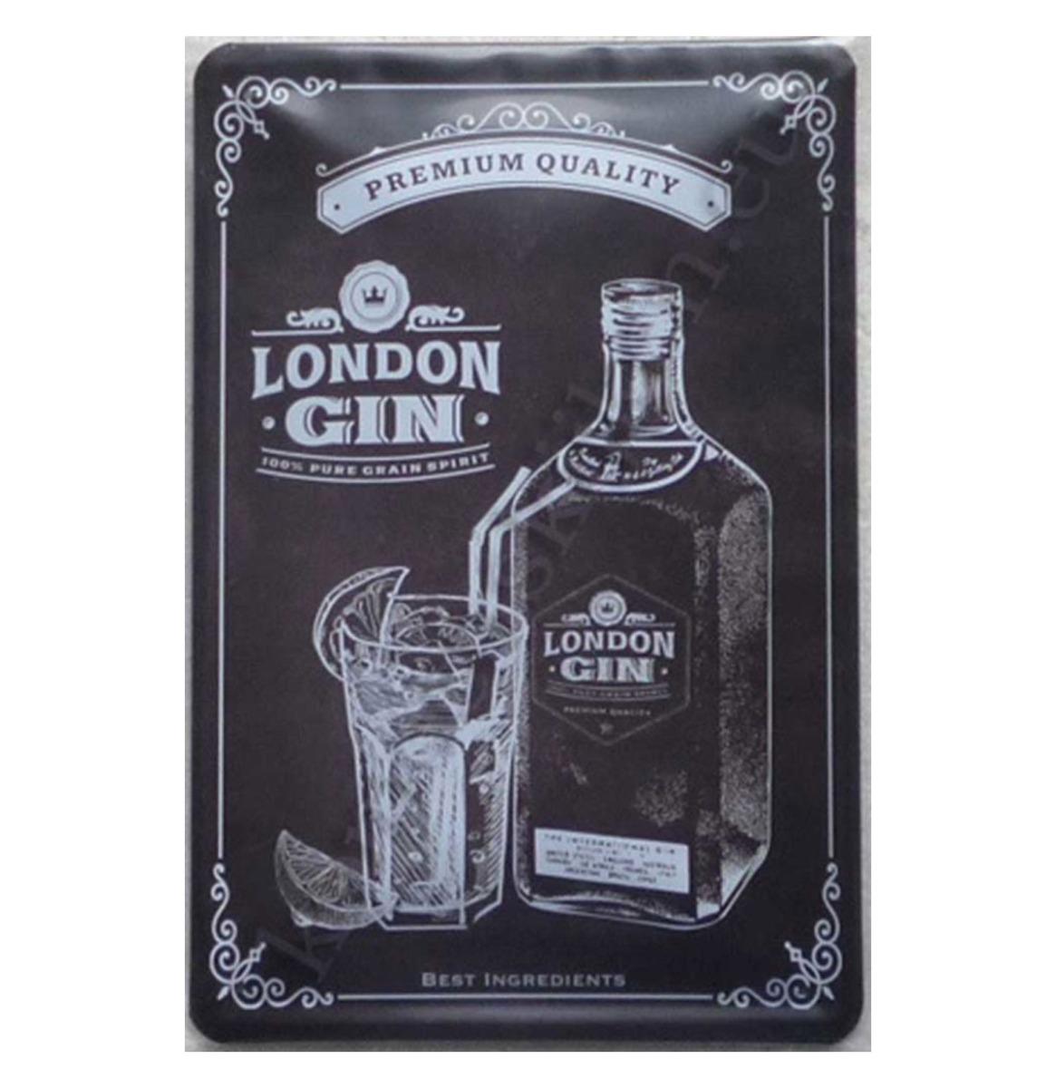 Fiftiesstore London Gin Metalen Bord 30 x 20 cm