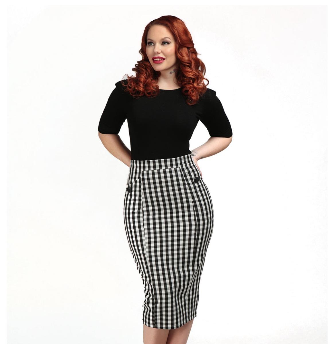 Collectif Lorrina Gingham Pencil Skirt Zwart - Wit
