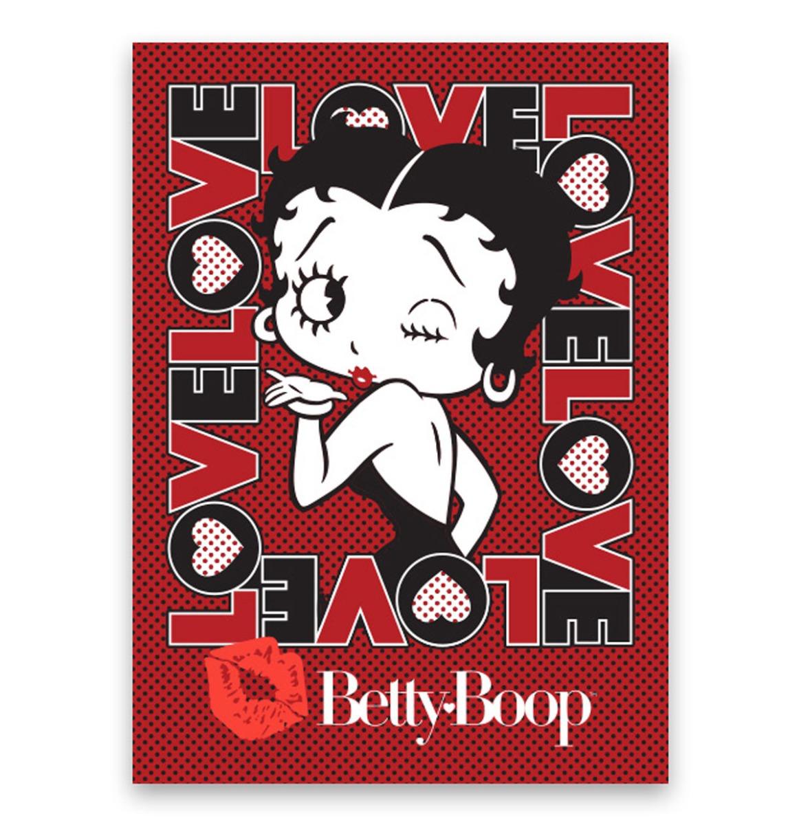 Betty Boop Love - Metalen Bord Met Reliëf - 43 x 31 cm