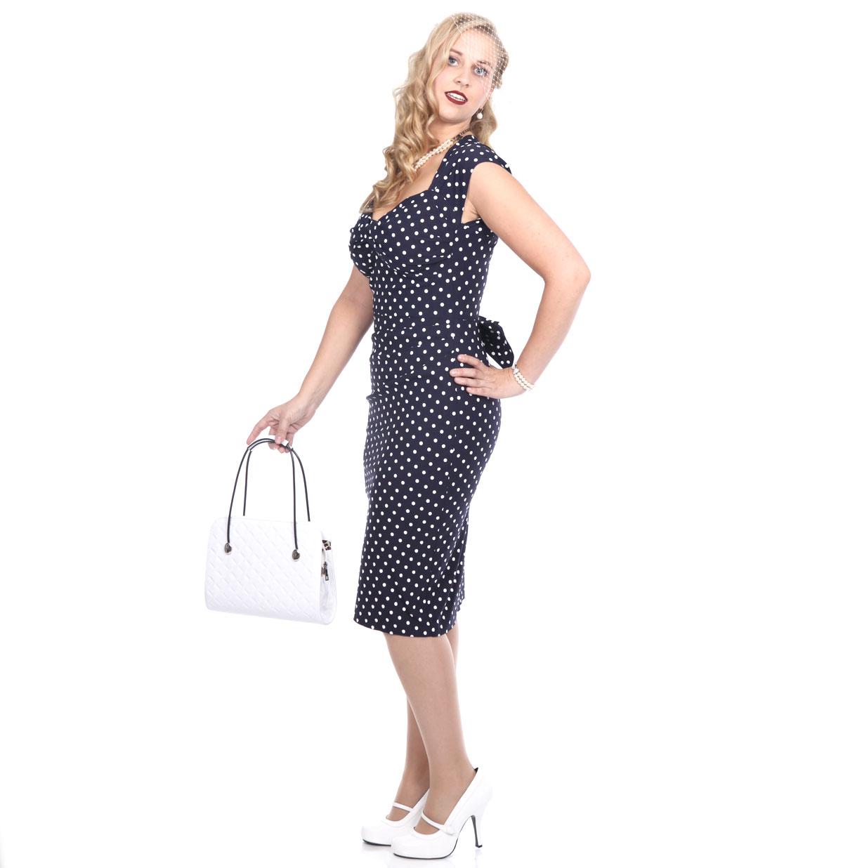 Love Dress, Navy - White Dots