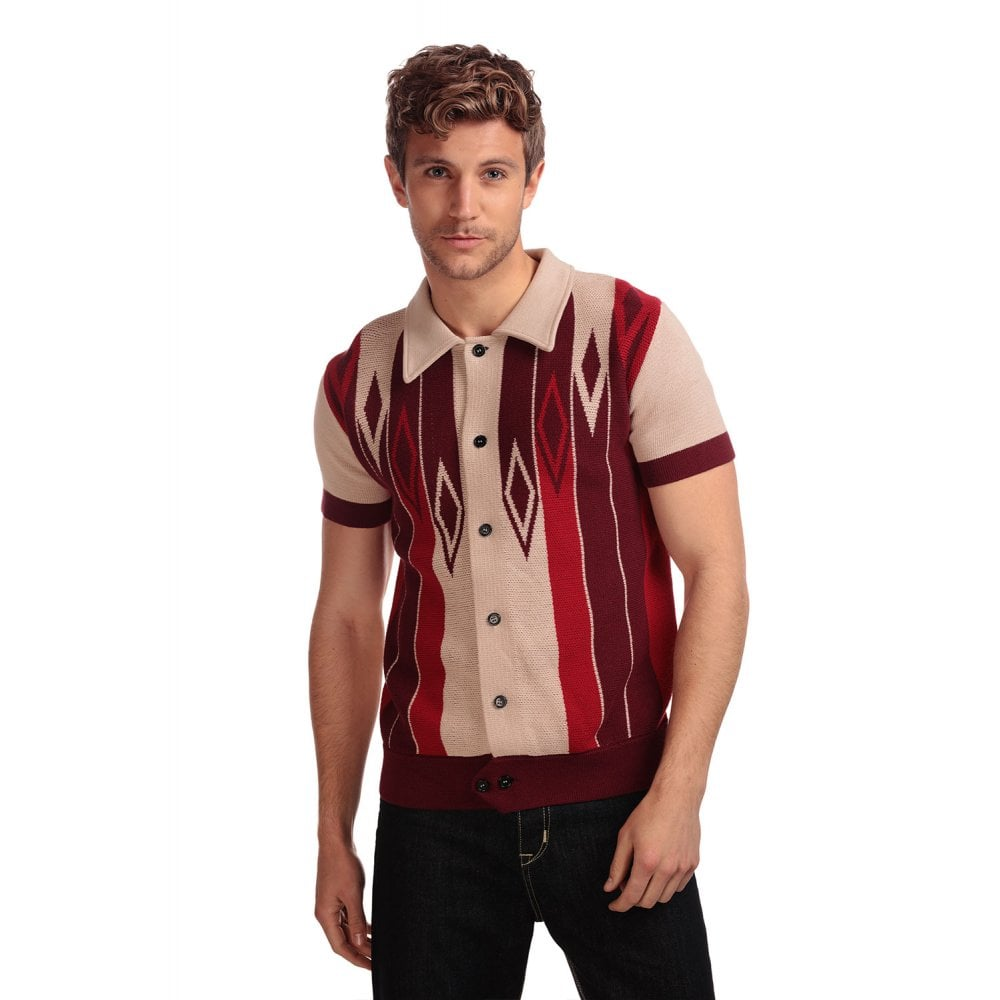 Luca Diamond Short Sleeved Cardigan Rood