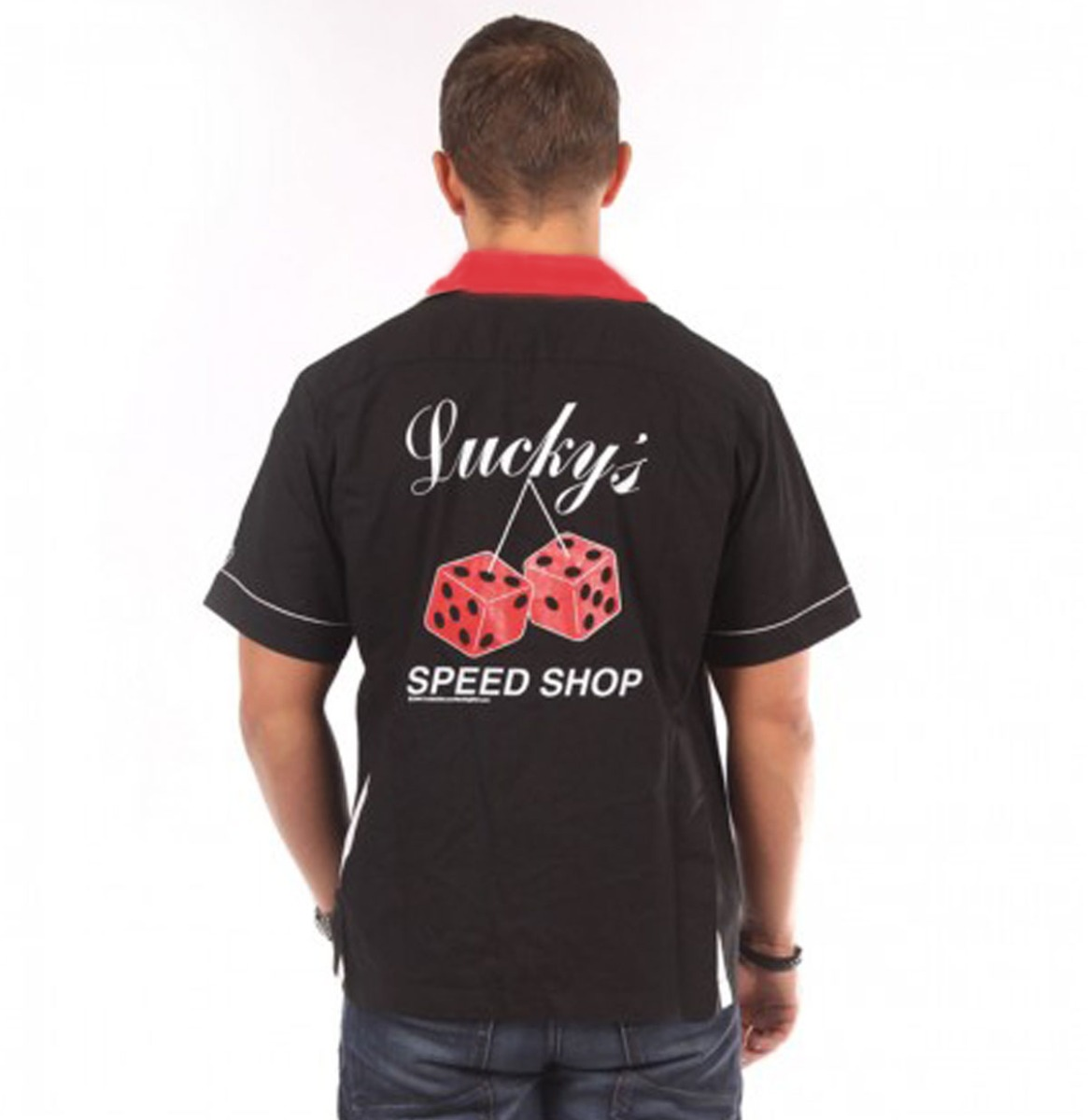 Lucky's Speed Shop Bowling Shirt Black - Red