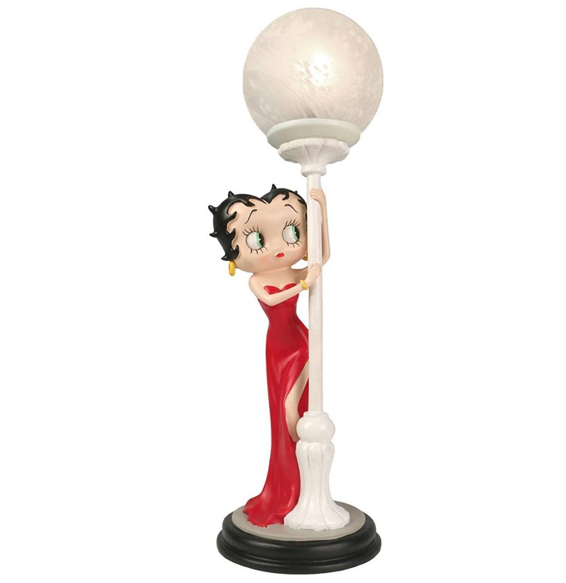 Fiftiesstore Betty Boop Speelt Verstoppertje In Rode Jurk Tafellamp 48cm