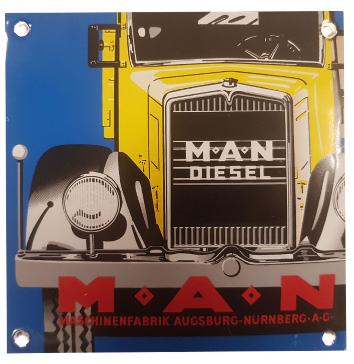 M.A.N. Diesel Emaille Bord - 13 x 13 cm