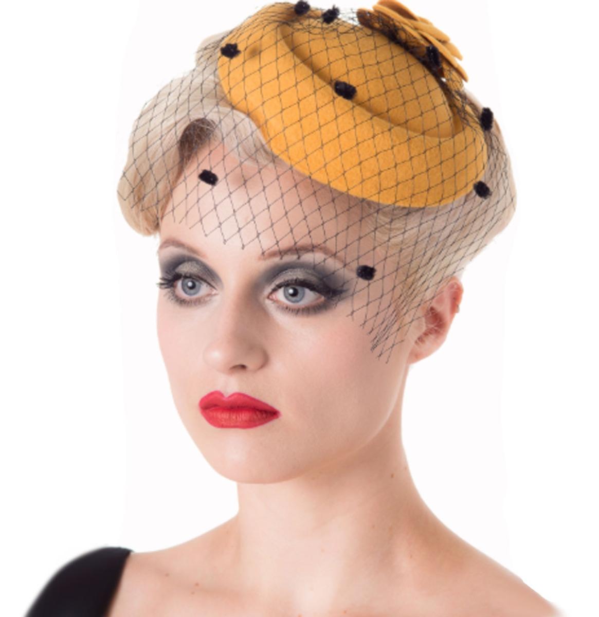 Marilyn Fascinator Mustard