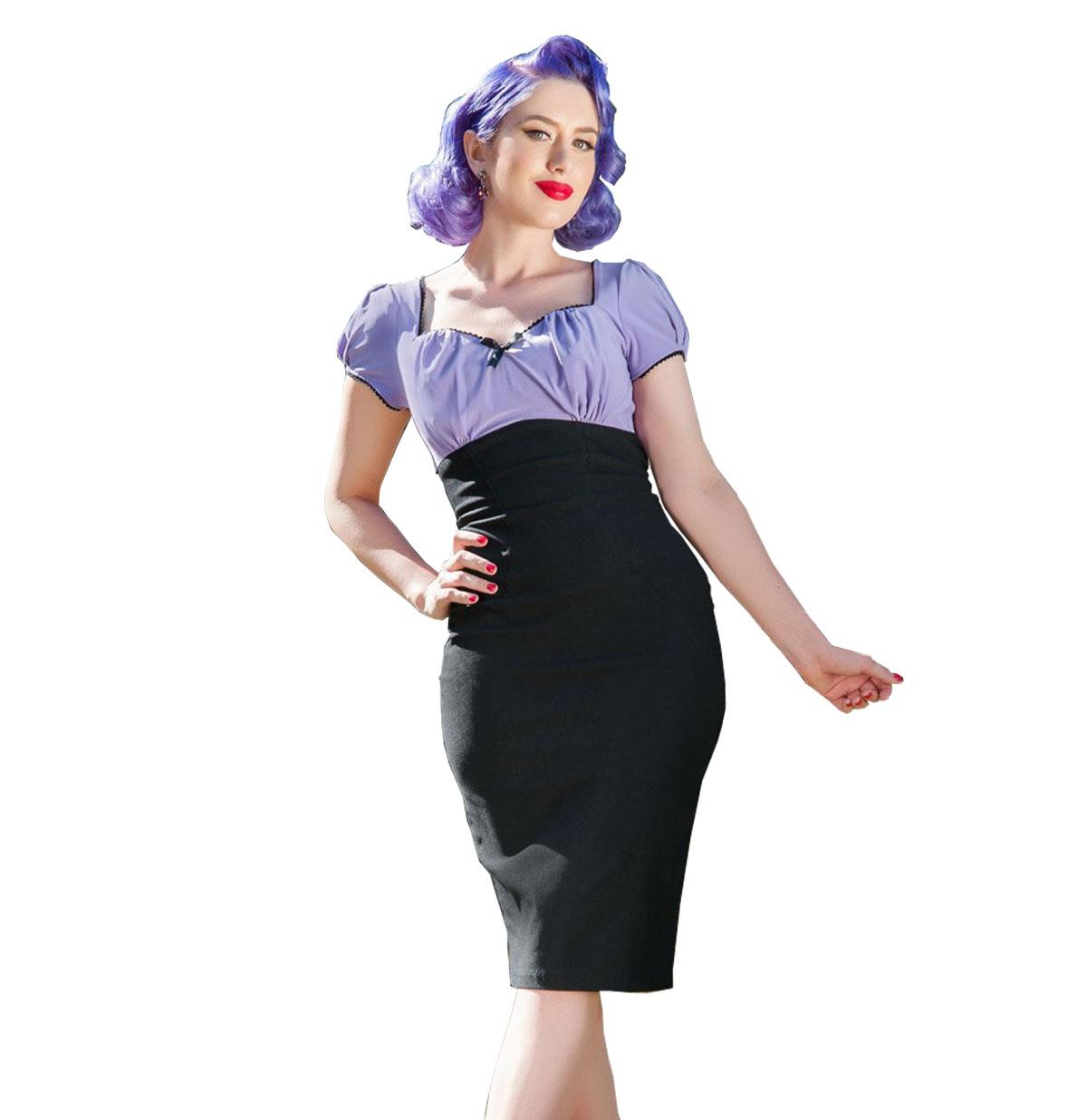 Mary Ann Dress Lavender and Black