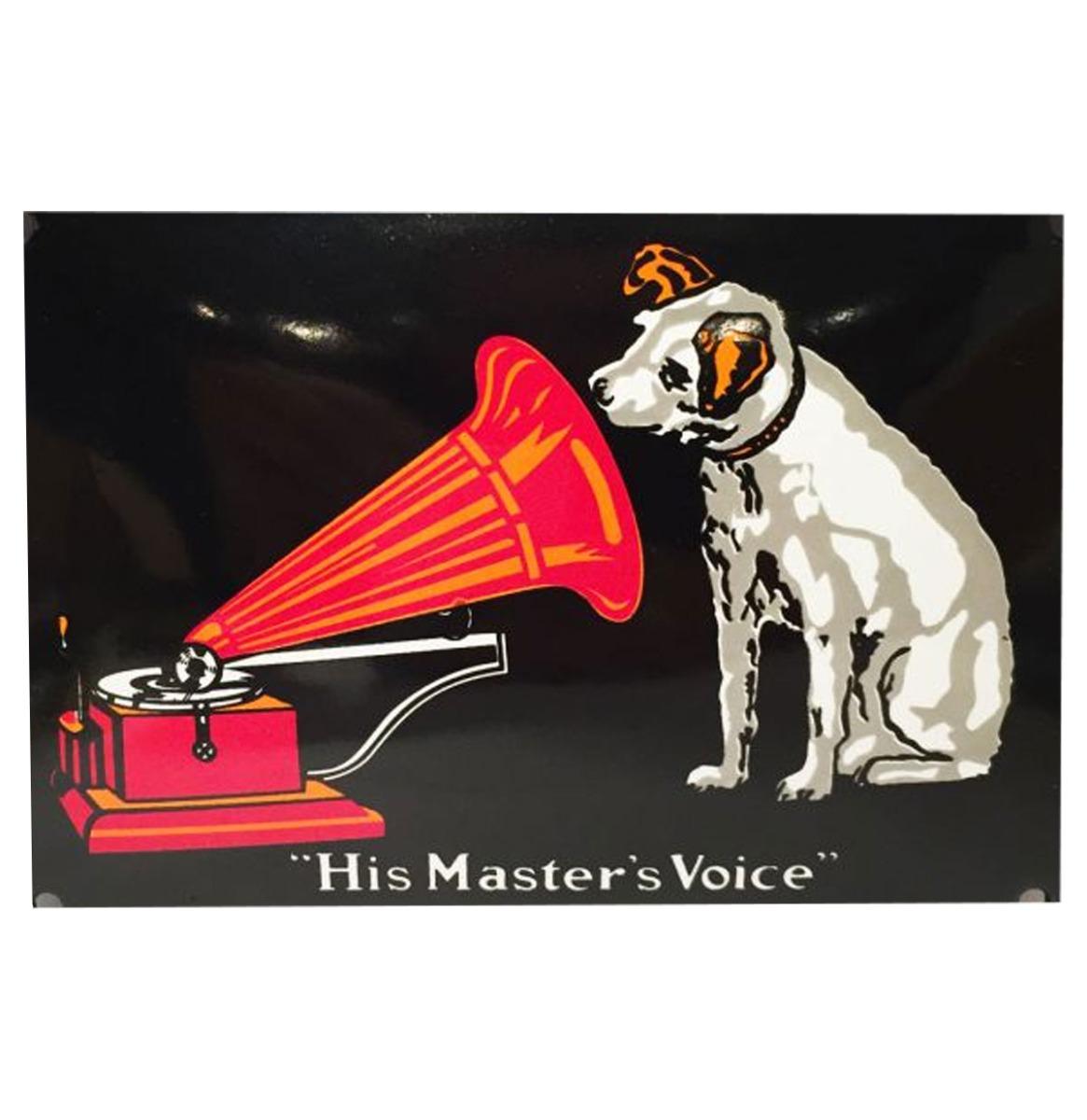 His Master's Voice Metalen Bord - 8 x 11 cm