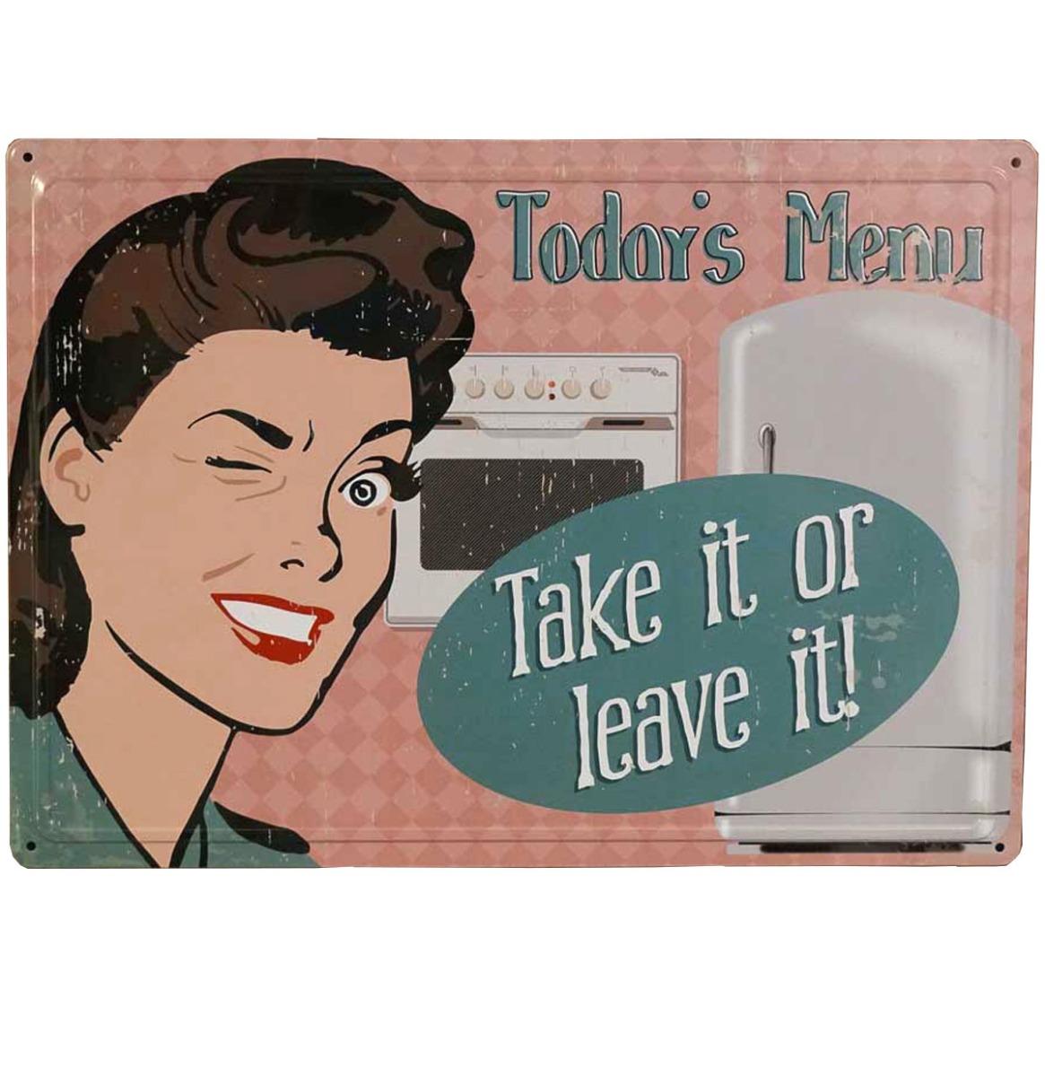 Today's Menu Take It Or Leave It Metalen Bord Met Reliëf - 43 x 31 cm