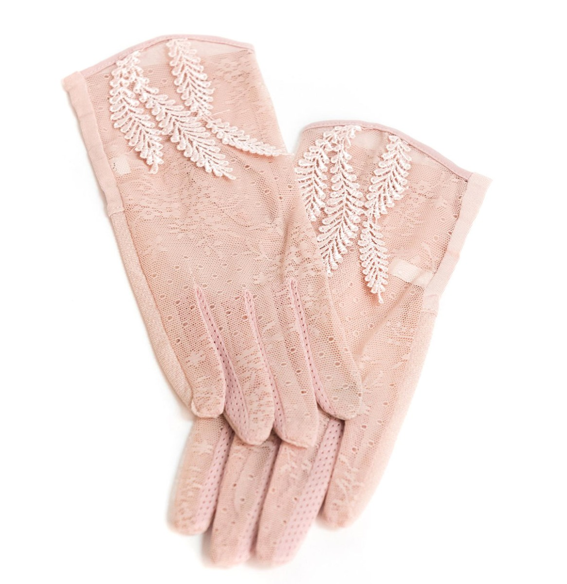 Mesh Floral Lace Gloves Dusty Pink