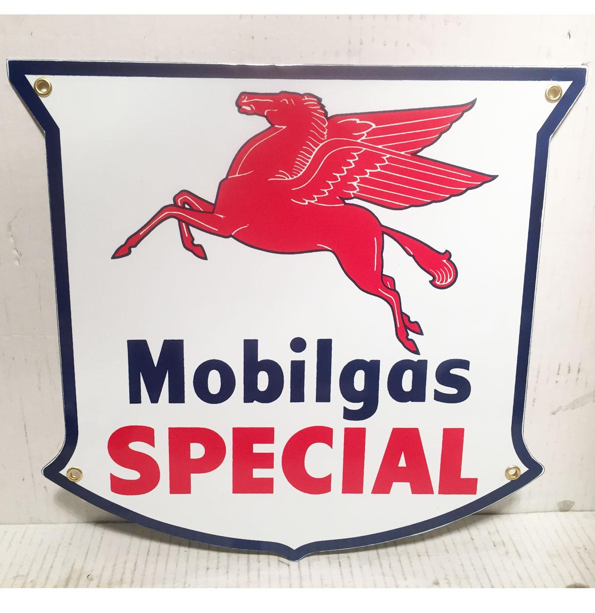 Mobilgas Special Pegasus Logo Emaille Bord Shaped