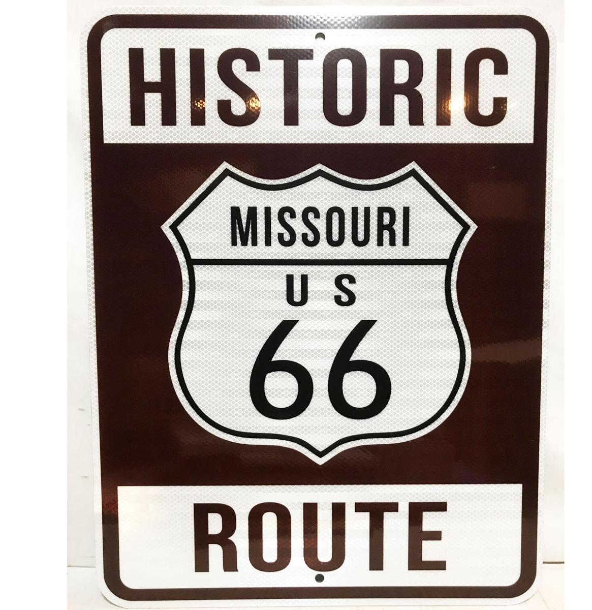 Historic Route 66 Missouri Snelweg Bord - Reflecterend