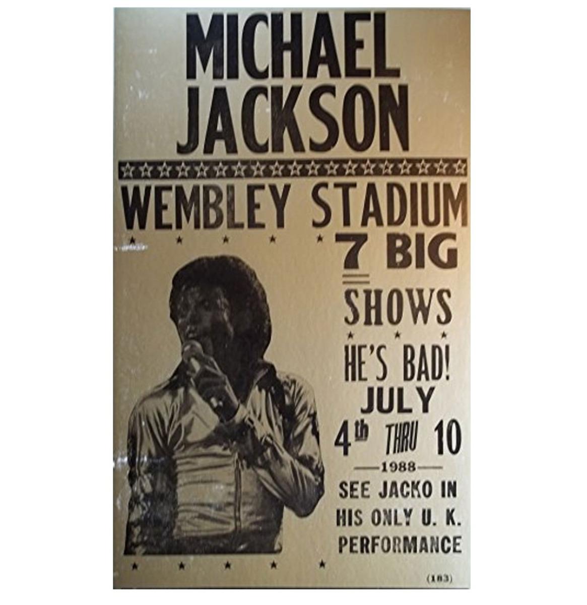 Michael Jackson Aankondigings Poster Wembley Stadium 4-10 July 1988