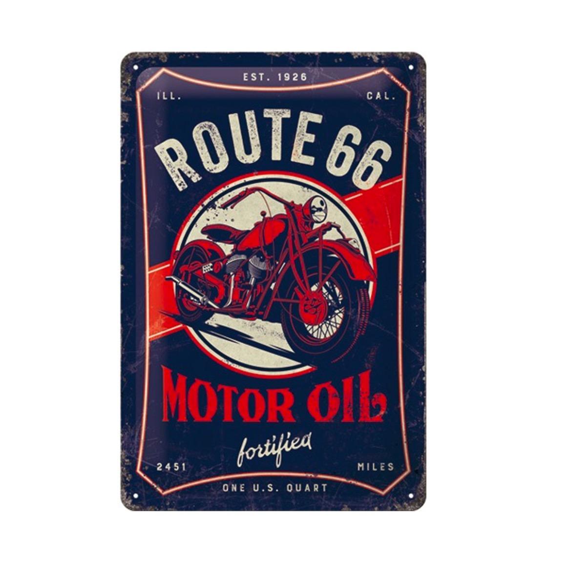 Tinnen Bord 20 x 30 Route 66 Motor Oil