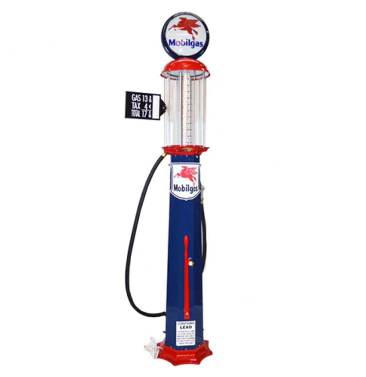 American Mobilgas 10 Gallon Benzinepomp - Blauw & Rood - Reproductie