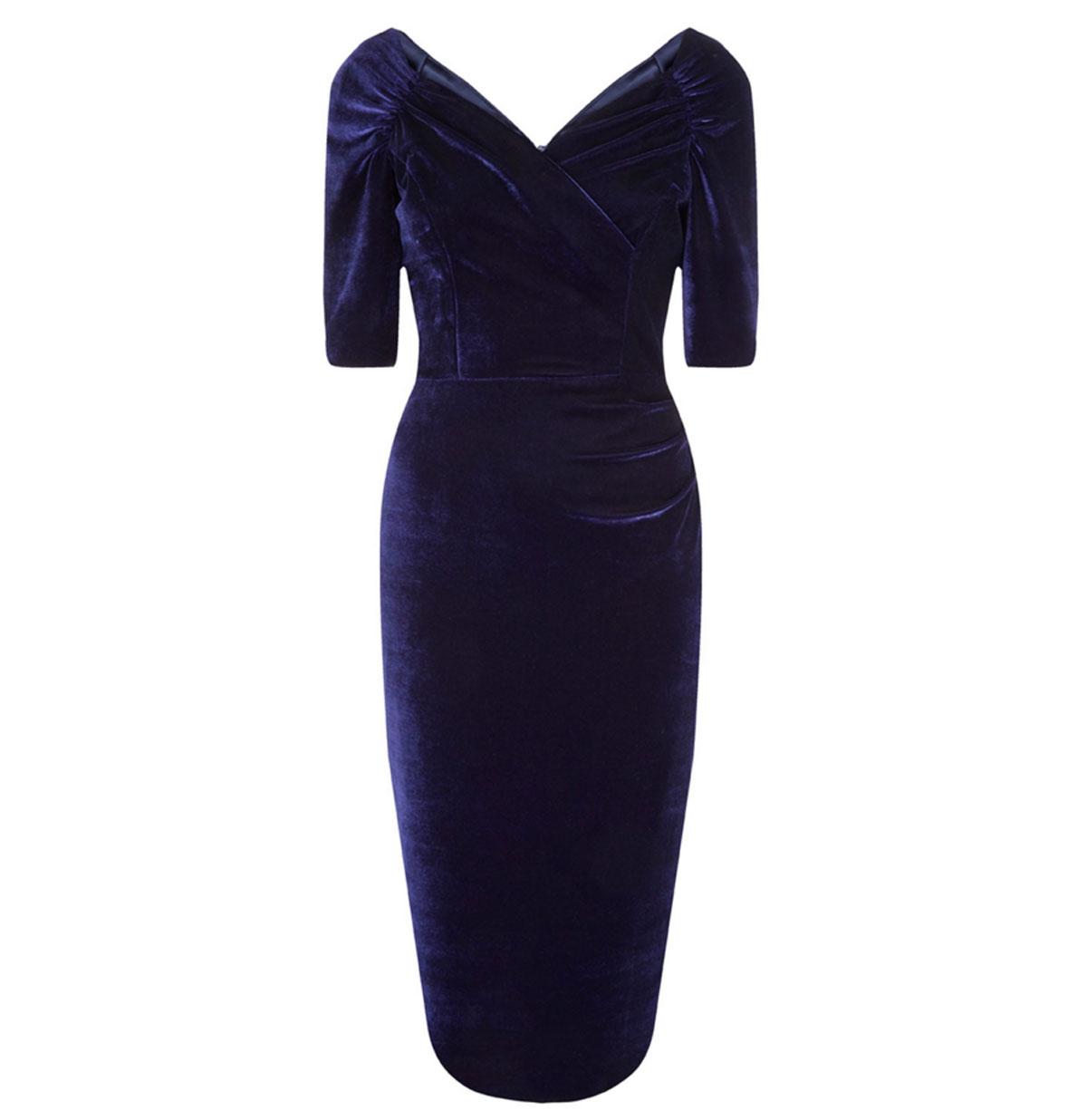Monte Carlo Velvet Pencil Dress Midnight Blue