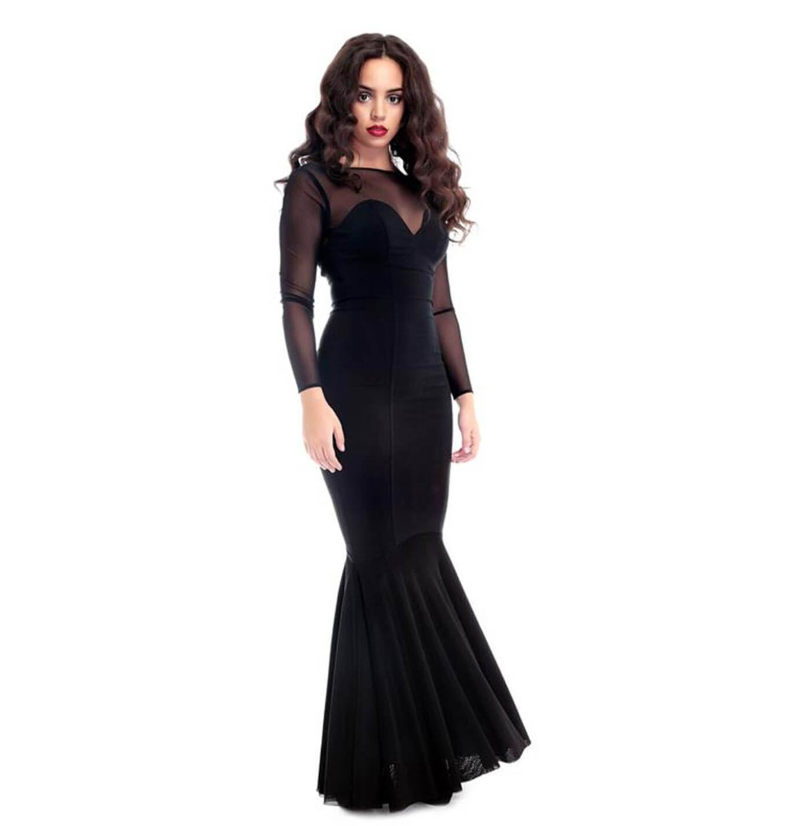 Collectif Morticia Fishtail Dress Zwart
