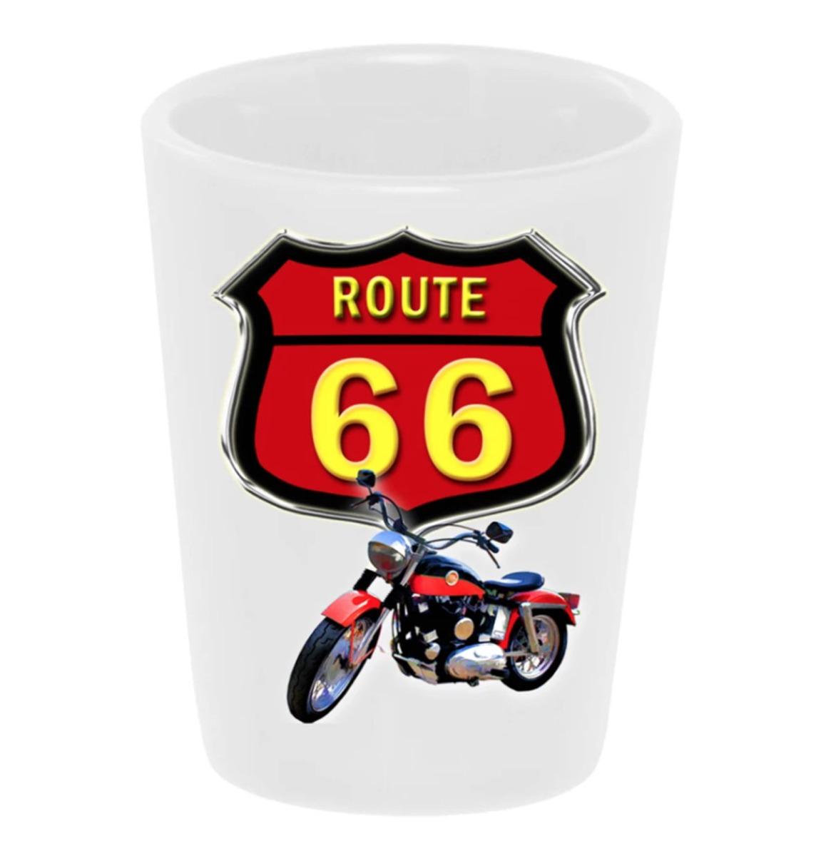 Shot Glas Keramiek Route 66 Motorcycle