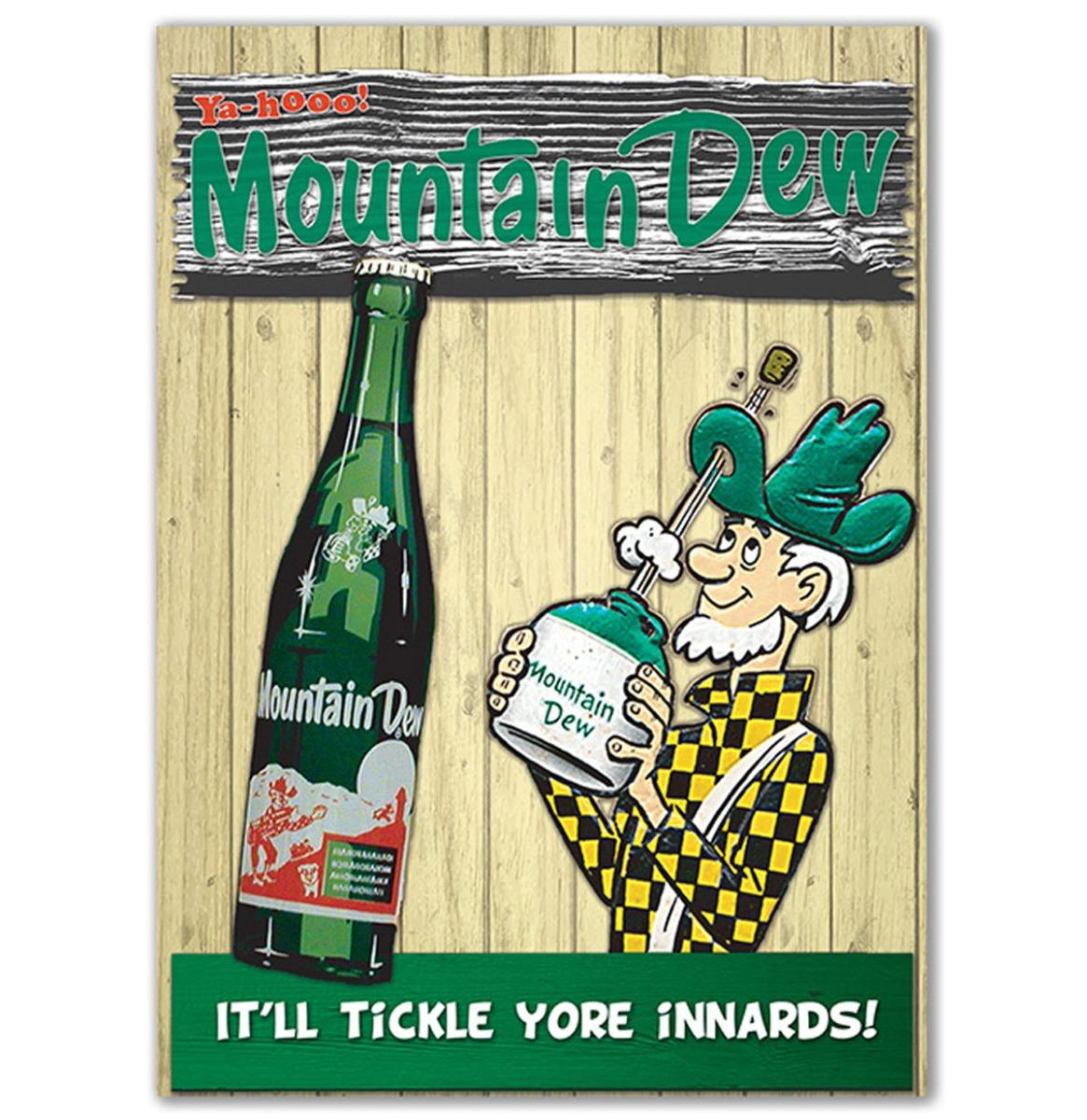 Mountain Dew It'll Tickle yore Innards Metalen Bord Met Reliëf 43 x 31 cm