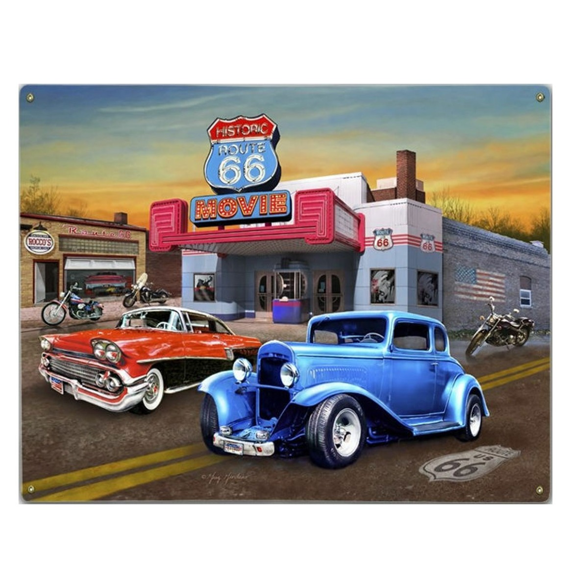 Historic Route 66 Movie - Metalen Bord Met Reliëf - 43 x 31 cm