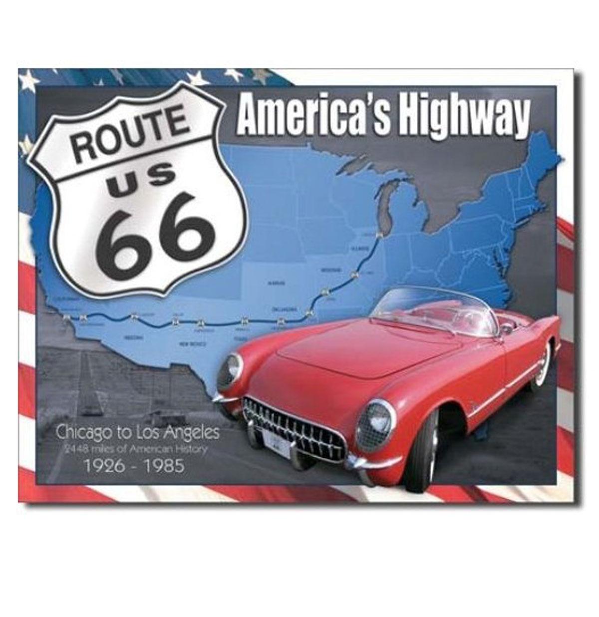 Metalen Poster - Route 66 America's Highway 1926-1985