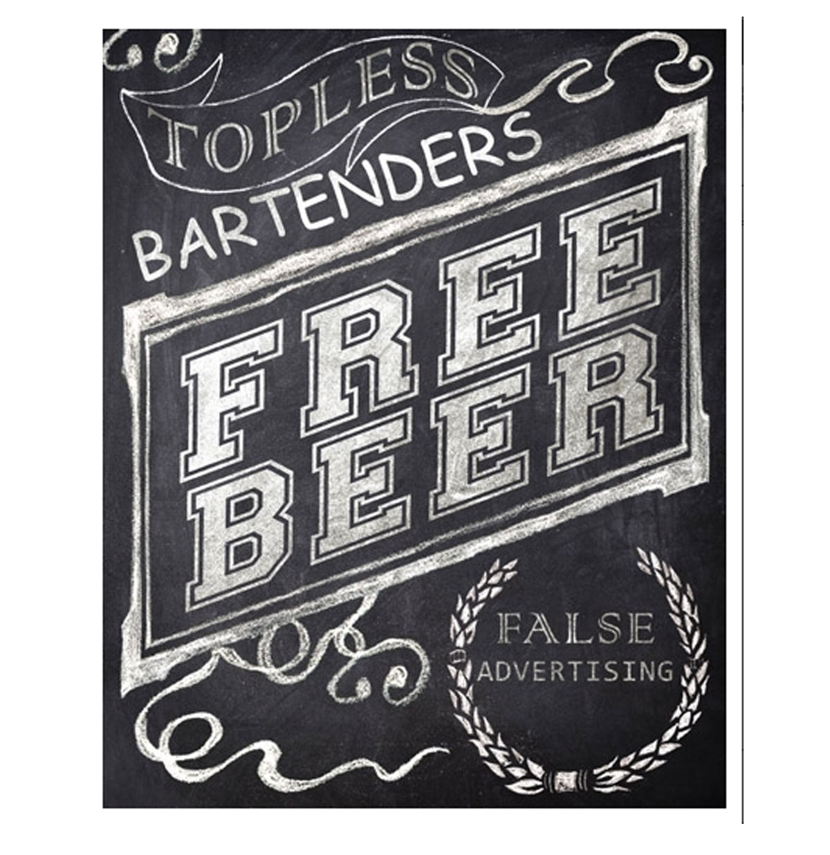 Topless Bartenders, Free Beer, False Advertising Metal Sign