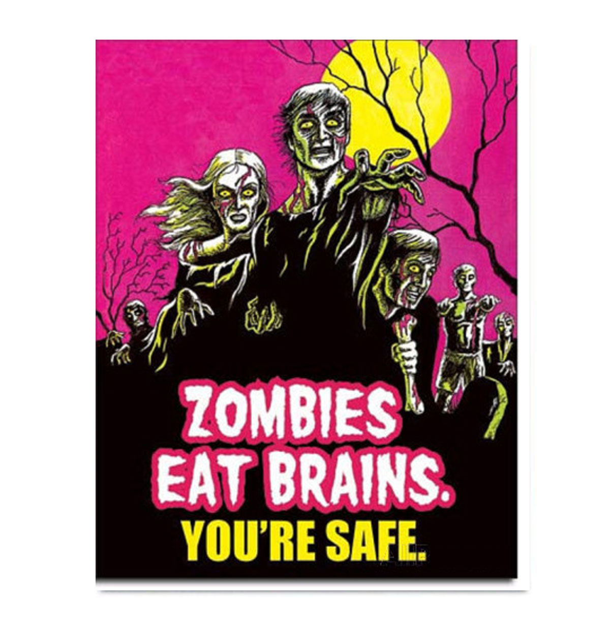 Metal Poster Zombies Eat Brains