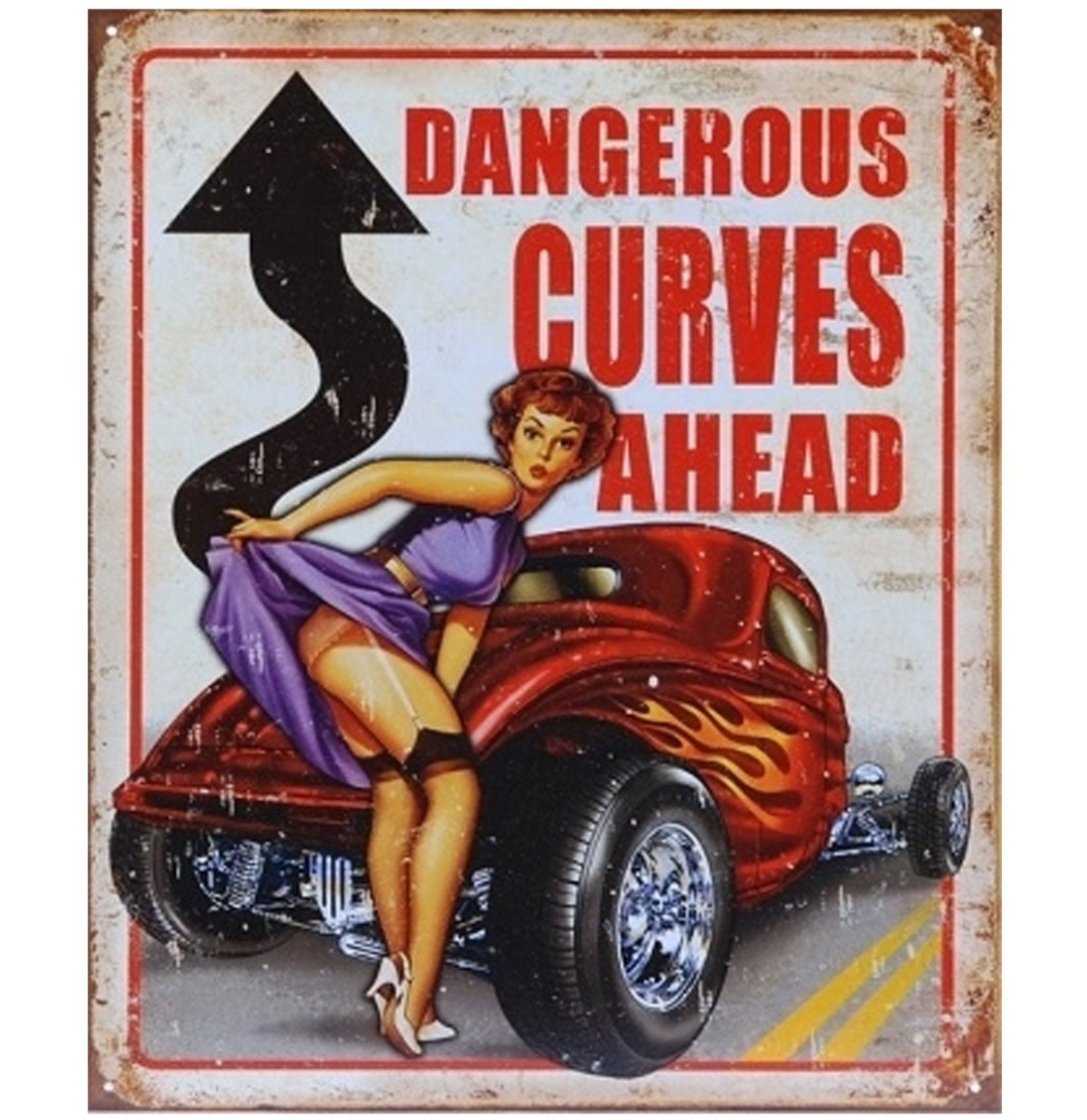Metalen Poster Dangerous Curves Ahead Pin-Up