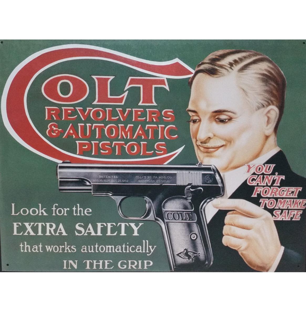 Metalen Poster Colt Revolvers & Automatic Pistols