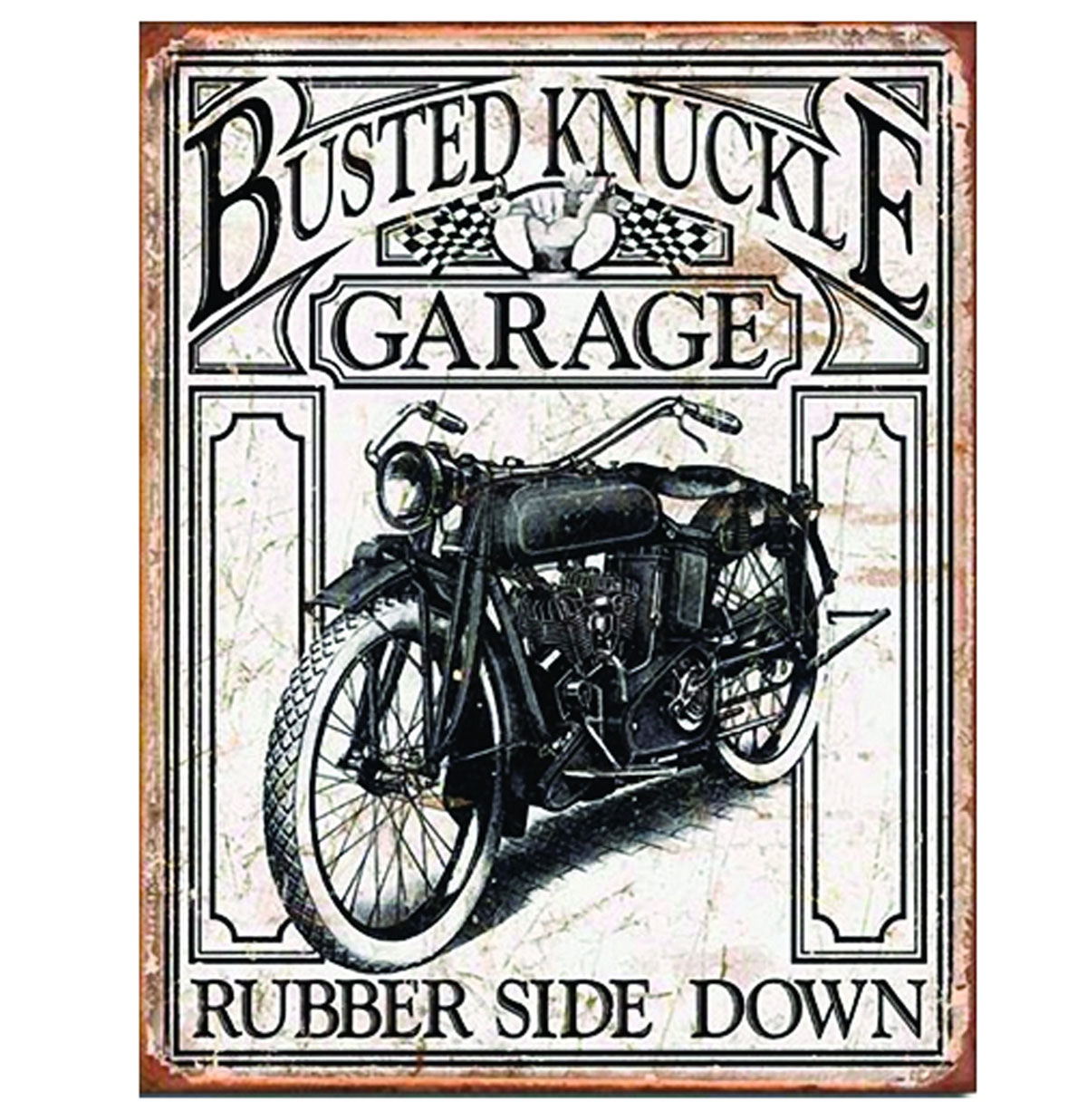 Metalen Poster- Busted Knuckle Garage Motorcycle Rubber Side Down