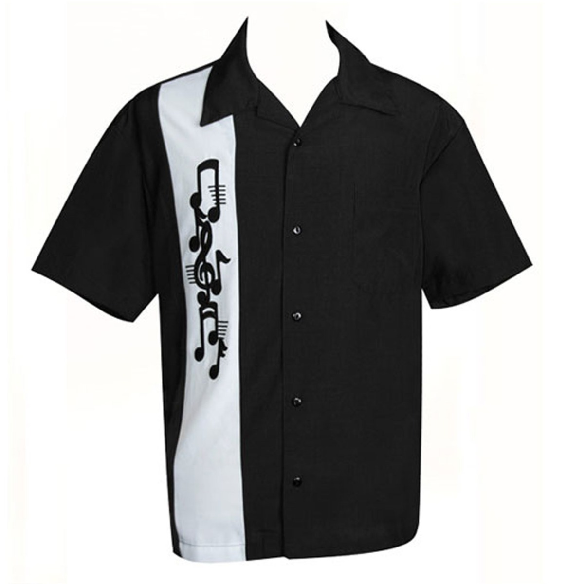 Music Note Applique Retro Shirt Black/White