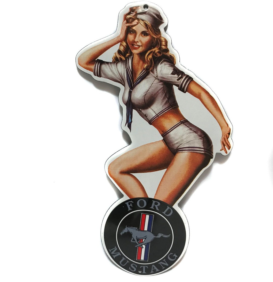 Ford Mustang Pin-Up Emaille Bord 20 x 11 cm