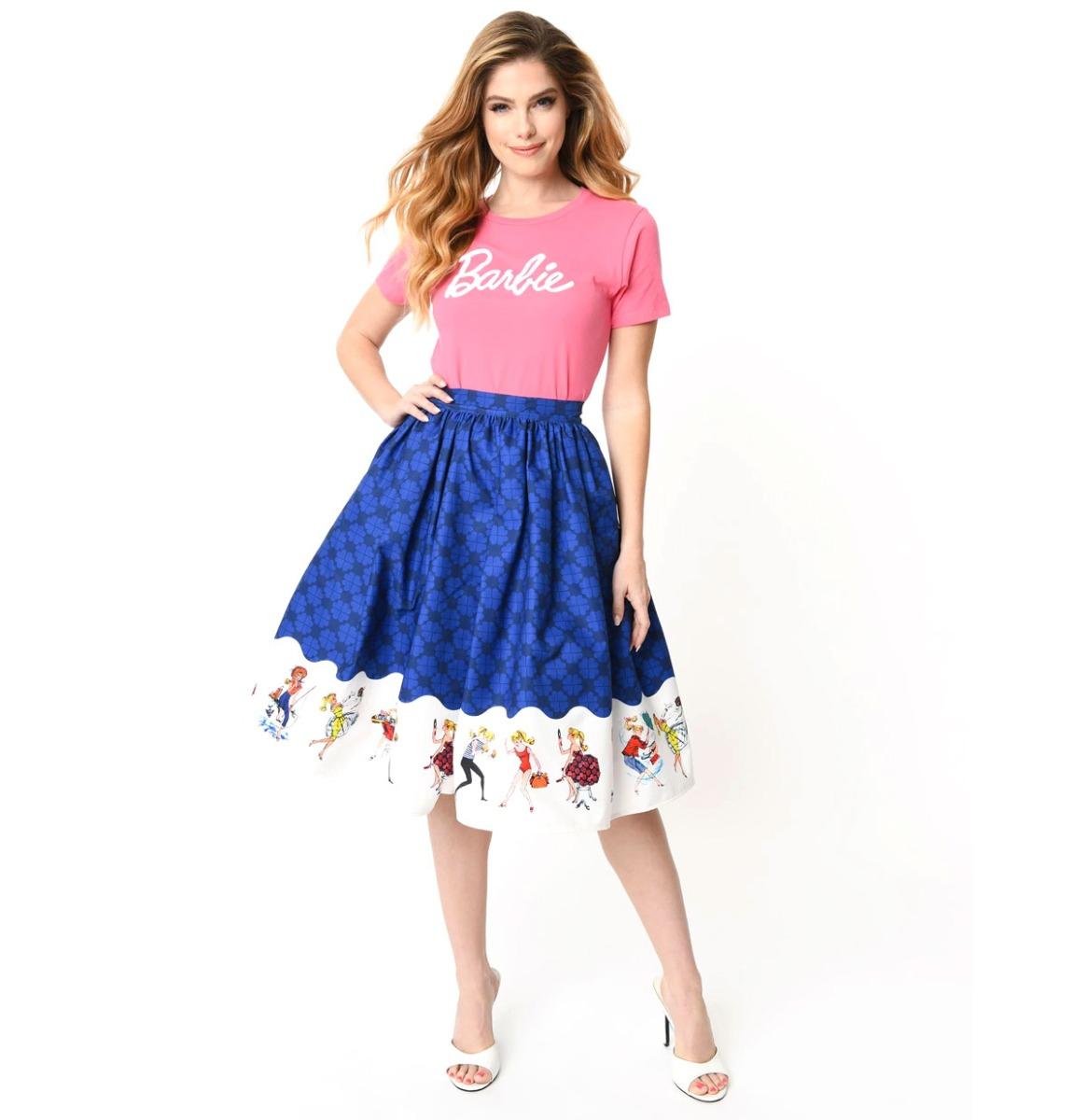 fiftiesstore My Barbie Collection Swing Skirt Blauw