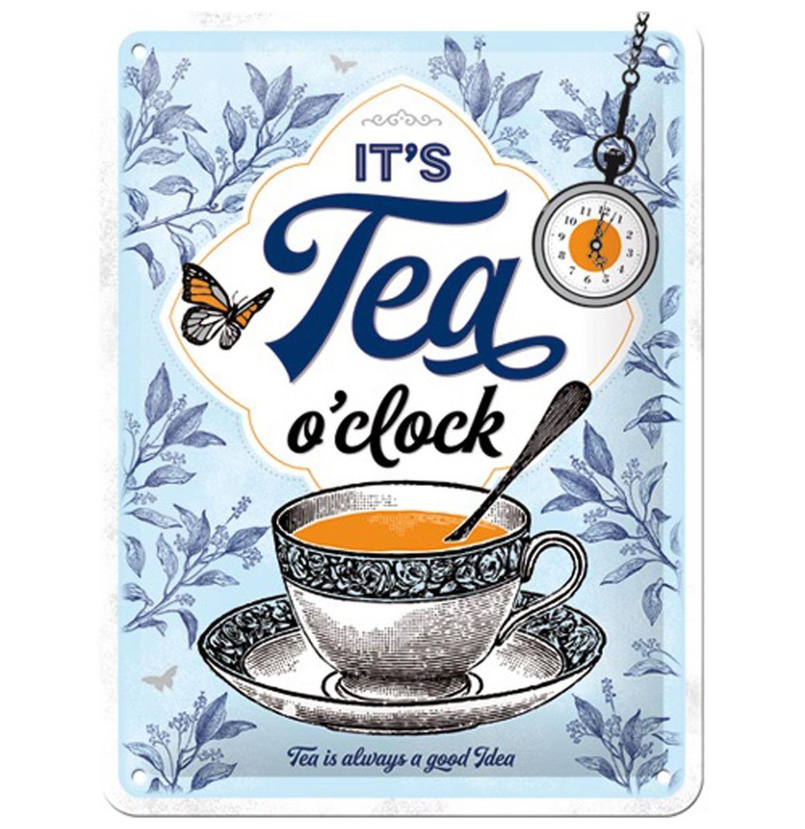 Metalen Bord 15 x 20 cm It's Tea O'Clock