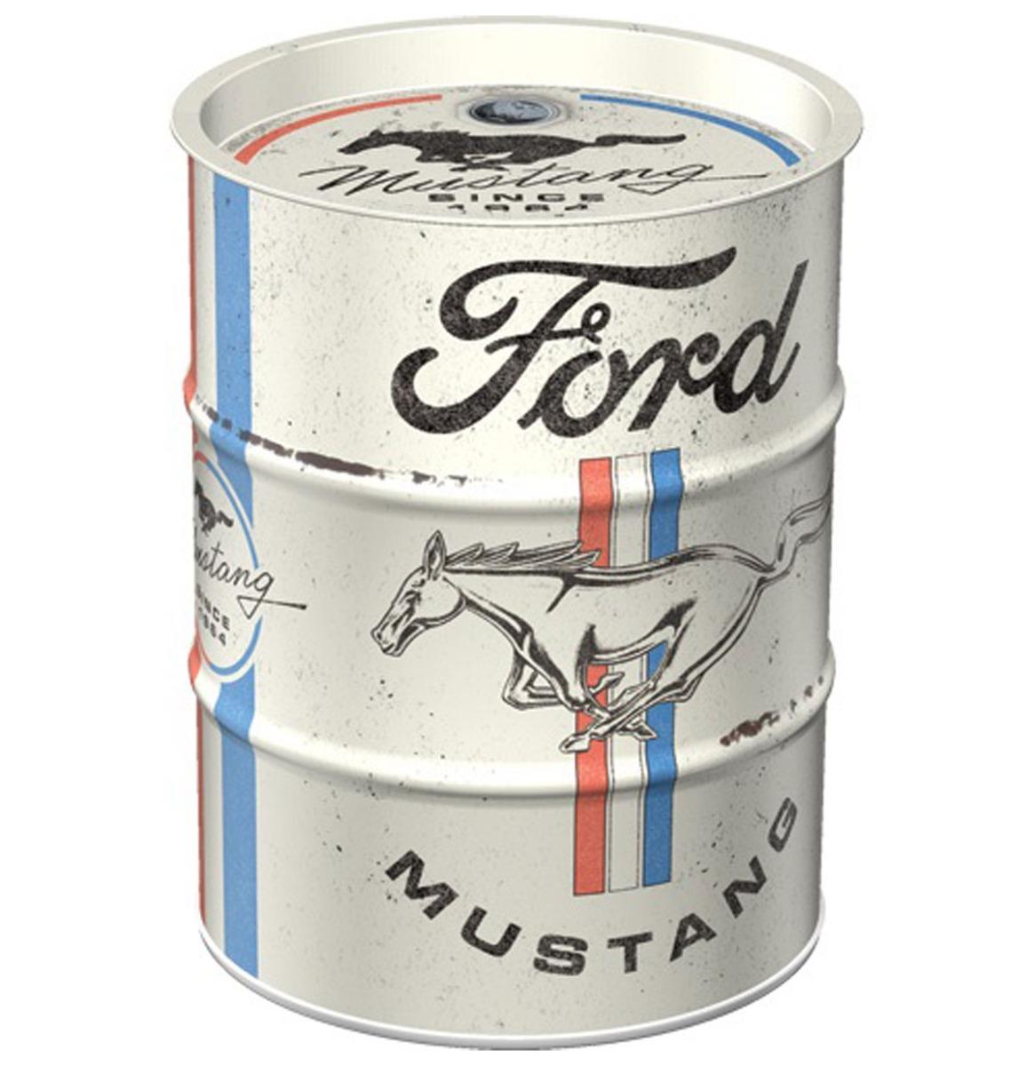 Spaarpot Oil Barrel Ford Mustang - Horse & Stripes Logo