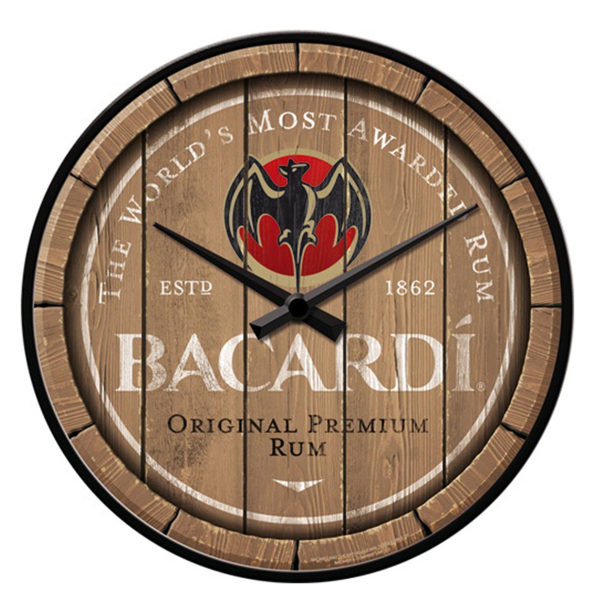 Wandklok Bacardi - Wood Barrel Logo