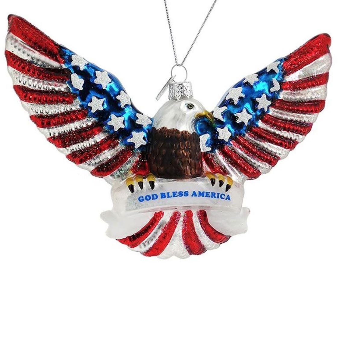God Bless America Patriotic Eagle Glazen Kerst Ornament - Met Cadeaudoos