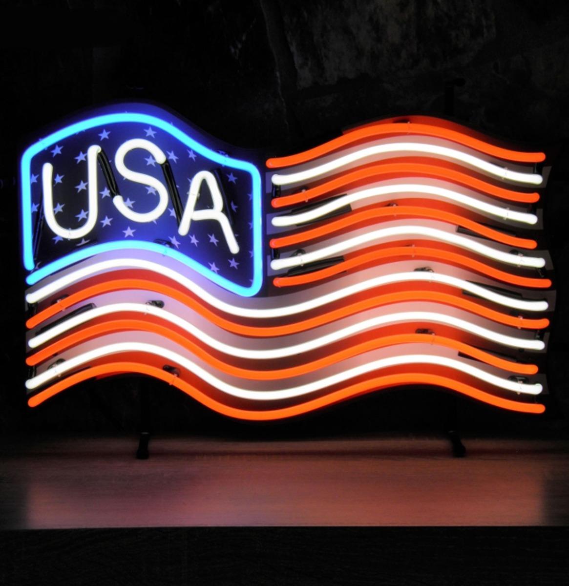 USA Amerikaanse Vlag Neon Verlichting 64 x 40 cm