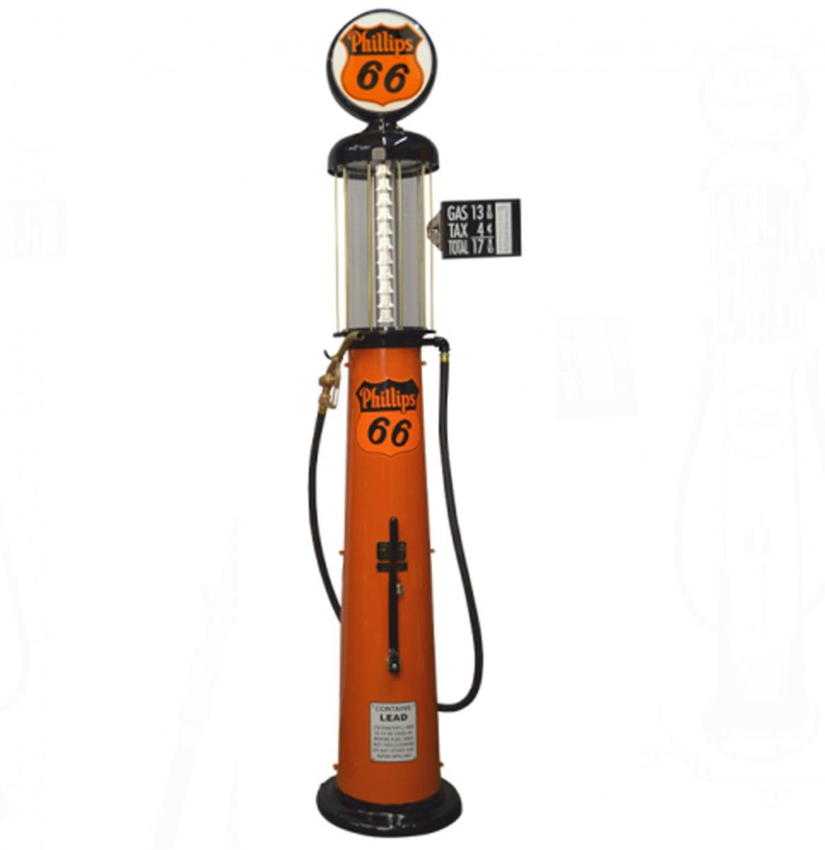Wayne 615 Phillips 66 10 Gallon Benzinepomp - Oranje & Zwart - Reproductie