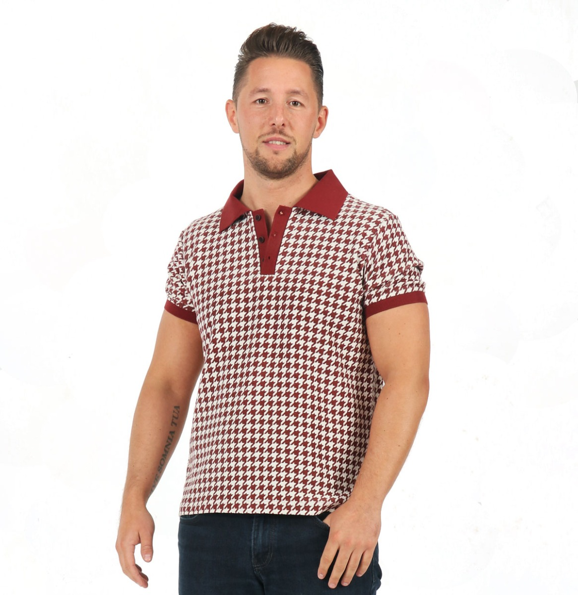 Pablo Dogtooth Polo Shirt Red