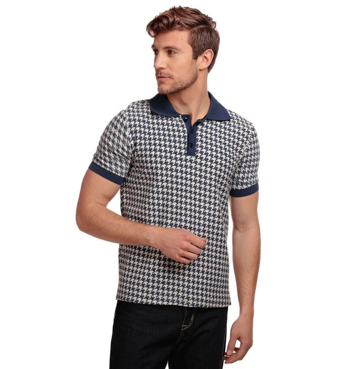 Pablo Dogtooth Polo Shirt Navy