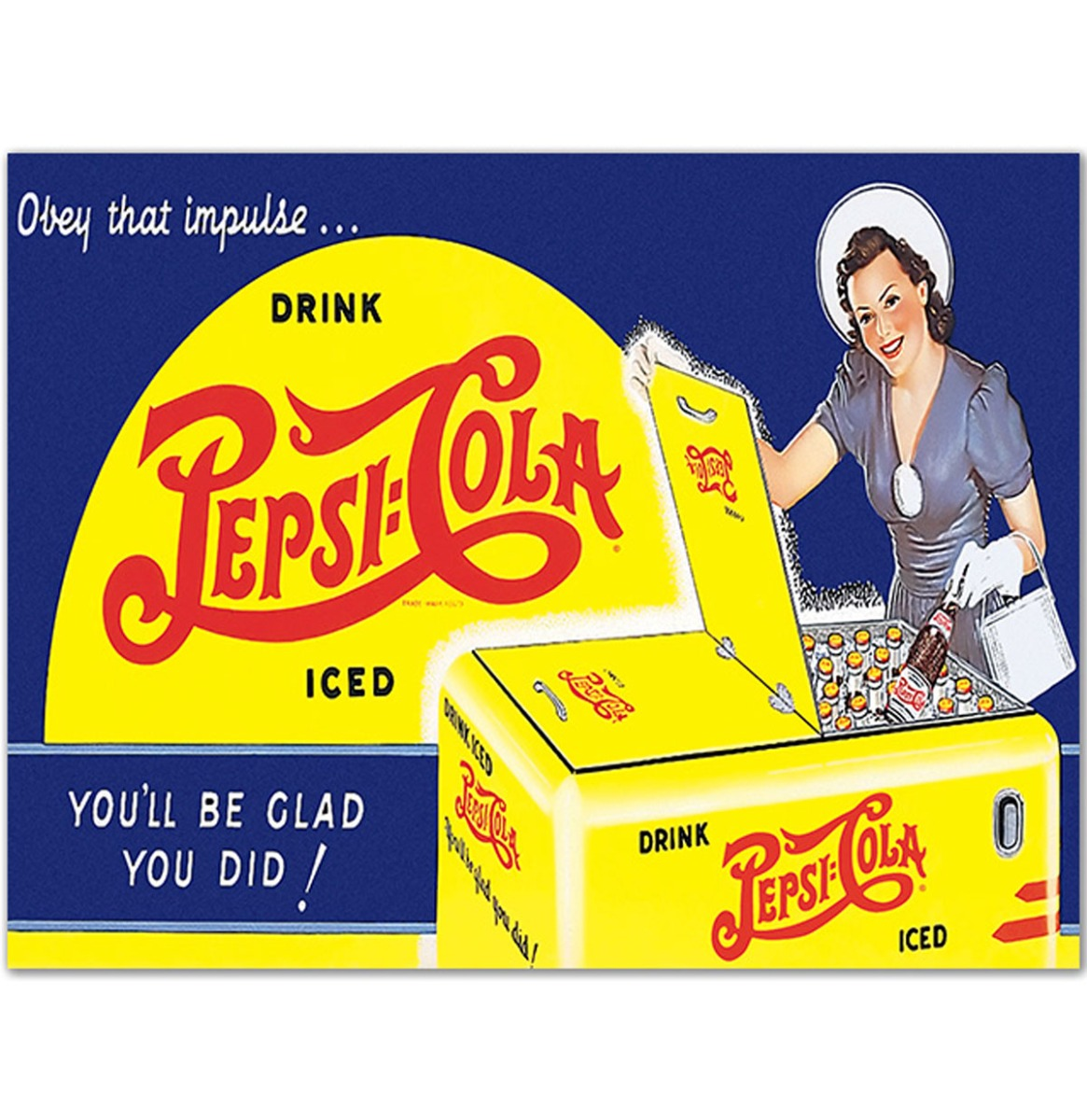 Pepsi Cola You'll Be Glad You Did - Houten Bord 50x40 cm