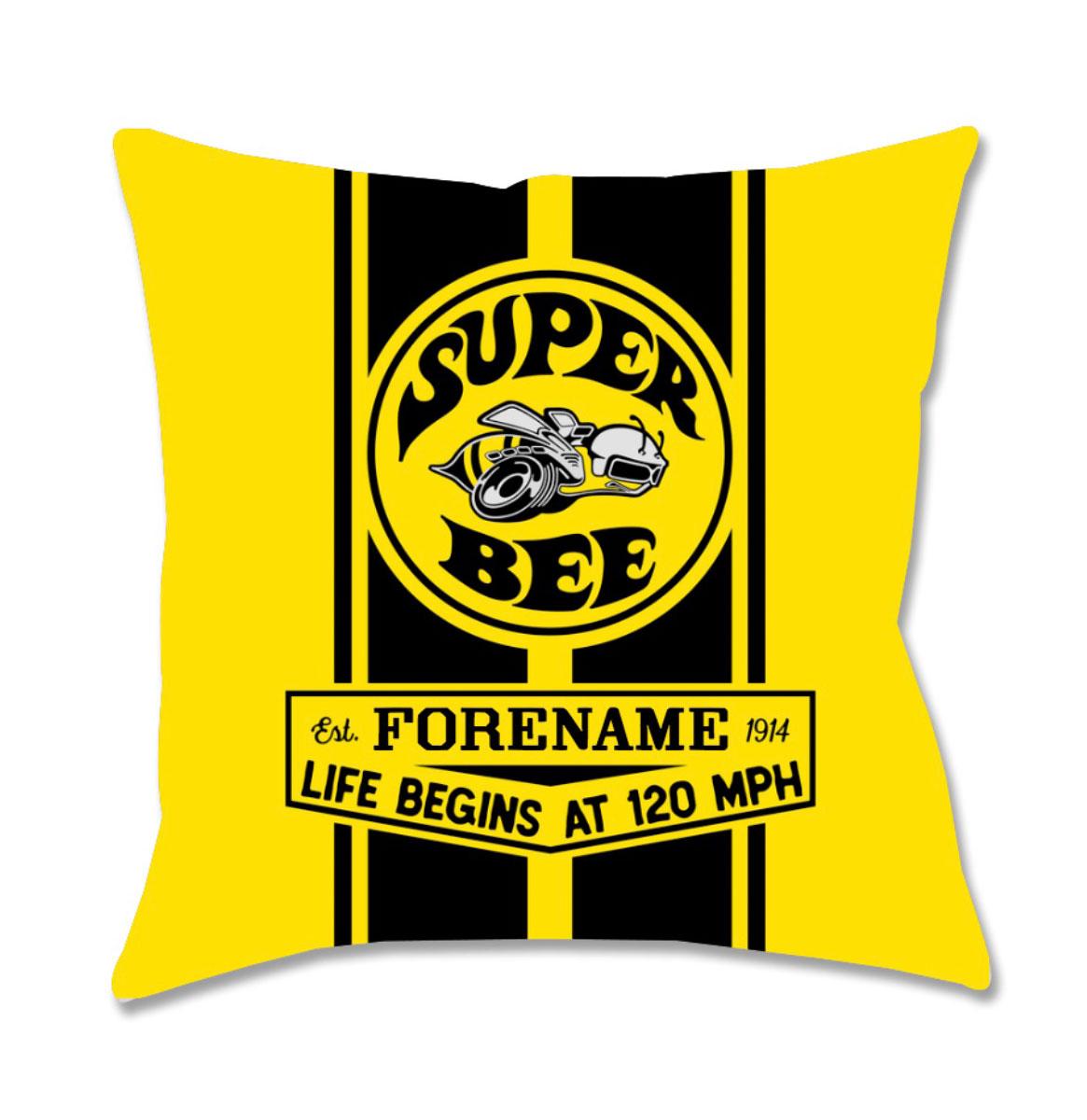 Gepersonaliseerd Geel Dodge Super Bee Icon Kussen (40x40 cm)